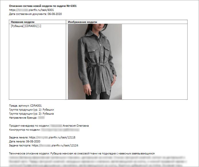 Автоматически сформированный документ описания модели